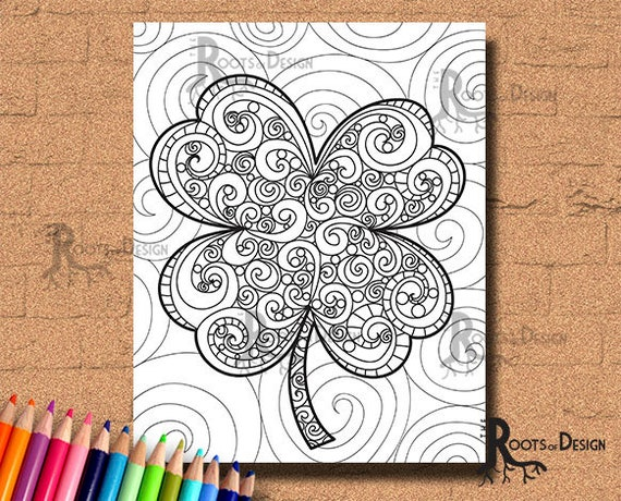 INSTANT DOWNLOAD Coloring Page  Shamrock / Clover Print 3