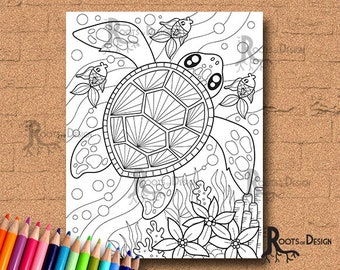 INSTANT DOWNLOAD COlORING PAGE- Sea Turtle Page Print, doodle art, printable