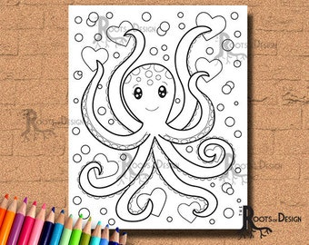 INSTANT DOWNLOAD COlORING PAGE- Octopus Love Page Print, doodle art, printable