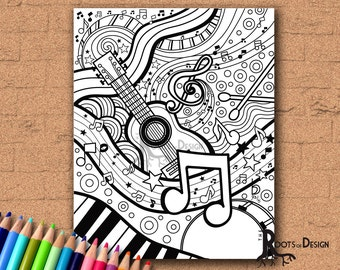 INSTANT DOWNLOAD Coloring Page - Music Art Print zentangle inspired, doodle art, printable