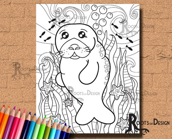 Manatee Coloring Page for Kids - Free Printable Picture | 460x570