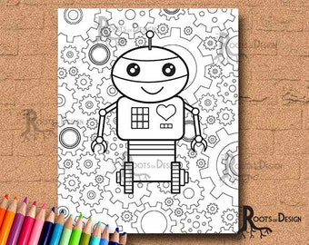 INSTANT DOWNLOAD Coloring Page - Robot with gears 3, doodle art, gamer printable
