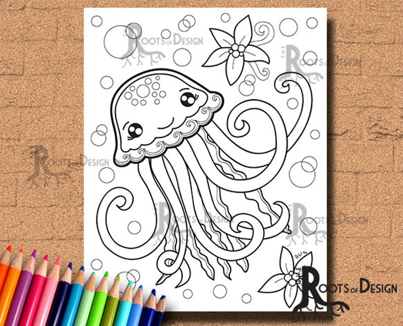 INSTANT DOWNLOAD Coloring Page - Jellyfish Print, doodle art, printable