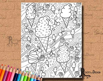 INSTANT DOWNLOAD Coloring Page Ice Cream Mix Art Coloring Print, doodle art, printable
