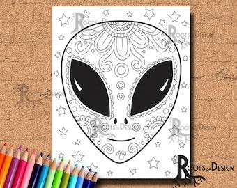 INSTANT DOWNLOAD Alien Sugar Skull Coloring Coloring Page Print, doodle art, printable