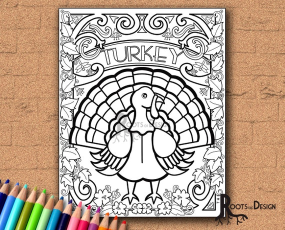 INSTANT DOWNLOAD Turkey Coloring Coloring Page Print doodle