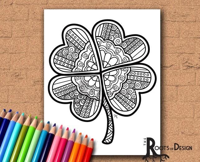 INSTANT DOWNLOAD Coloring Page Four Leaf Clover Shamrock