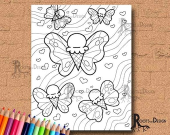 INSTANT DOWNLOAD Coloring Page Ice Cream Butterfly Art Coloring Print, doodle art, printable