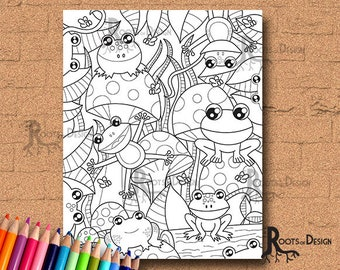 INSTANT DOWNLOAD COlORING PAGE- Frogs and Mushrooms Page Print, doodle art, printable