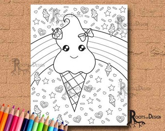 INSTANT DOWNLOAD Coloring Page Ice Cream Cutie Art Coloring Print, doodle art, printable