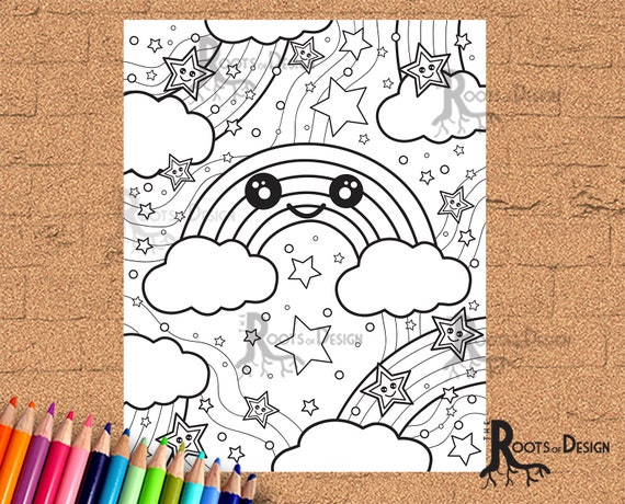 INSTANT DOWNLOAD Coloring Page  Rainbow Print doodle art