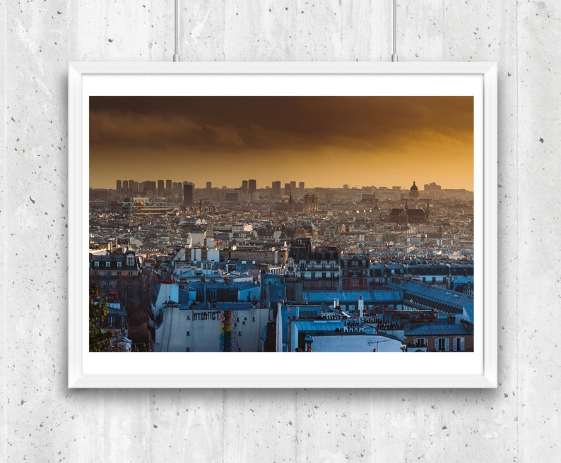 Panoramic view over Paris rooftops from Montmartre Unframed image 0