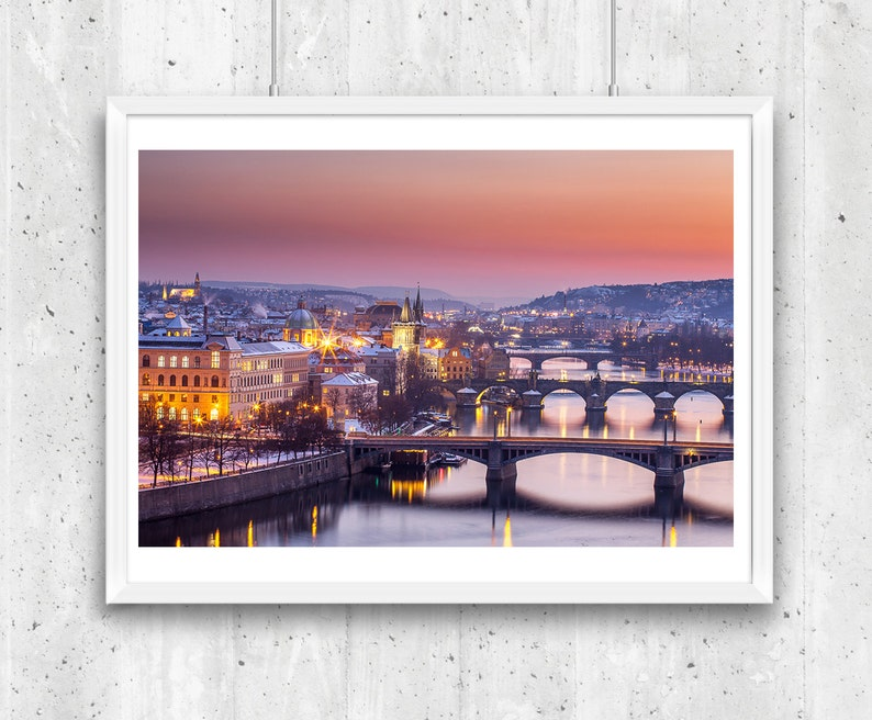 Vltava River Charles Bridge and Old Town in winter Prague. image 0