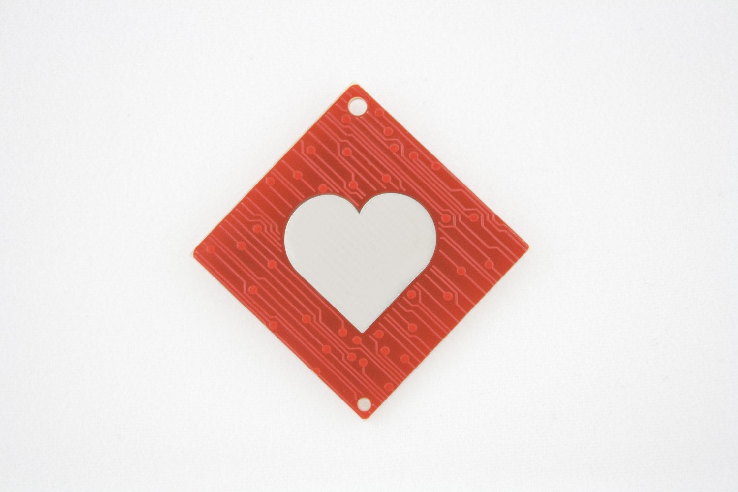 circuit board magnet with cherry blossoms and heart etsy