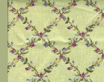 1-1/8th Yard Cut of 100% Cotton Home Dec Fabric Herb Lattice Springs Floral Design