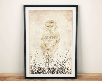 Labyrinth: Cult Fantasy Movie Poster // David Bowie the Goblin King Quote, Snowy Owl, and Bramble Silhouette Print