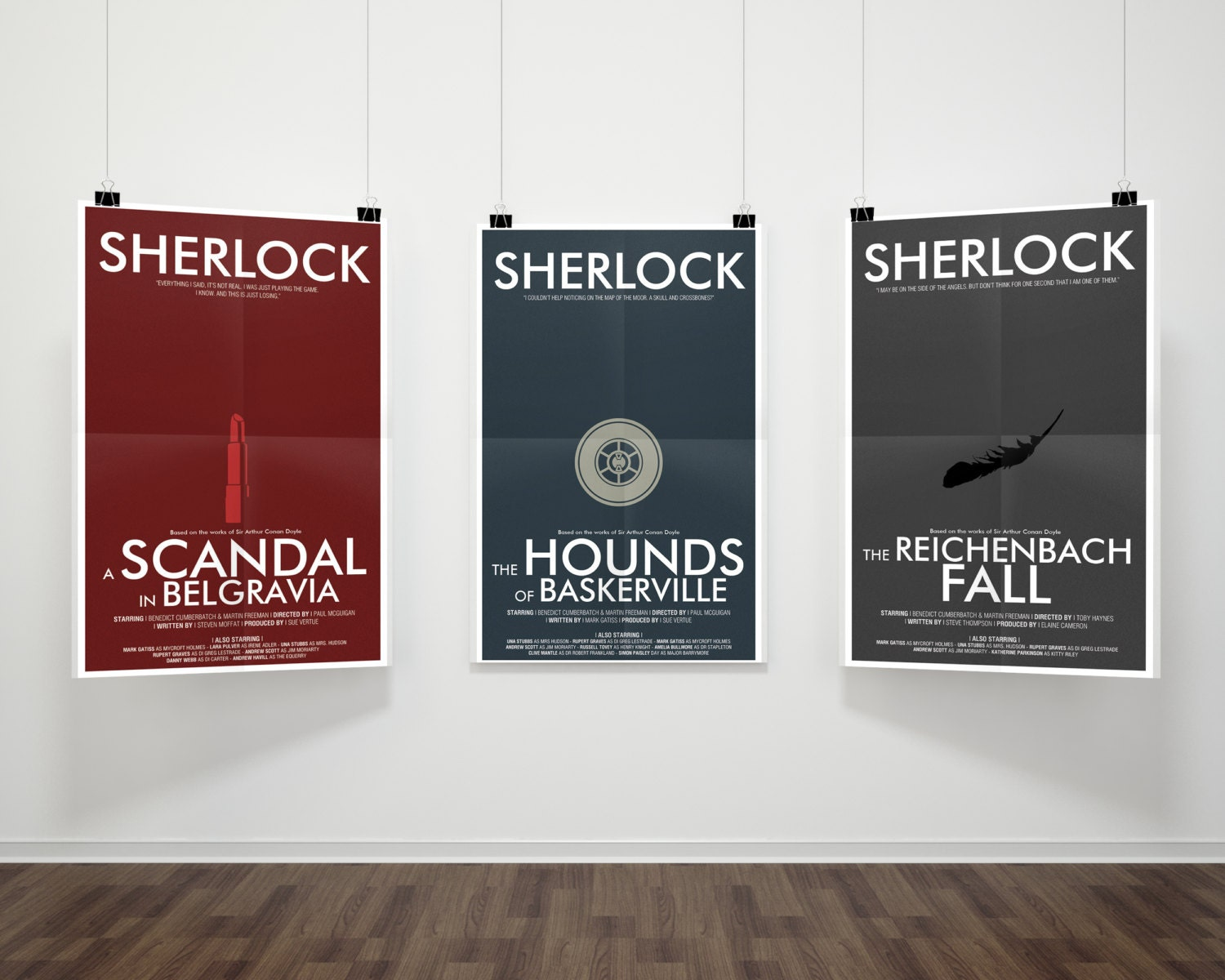 Sherlock Modern Poster Bundle // 5% off 3-Print Series Part 2 // Minimalist  Sherlock Prints with Lipstick, Landmine, & Feather Illustrations