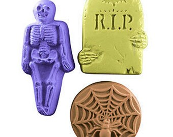 Halloween Soap Set, 3 Bar Set, Skeleton Spider Web RIP Grave, Novelty Soap, Scary Soap - You pick scent & color