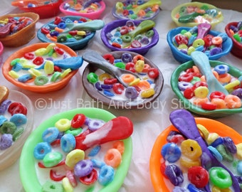 Fruit Loops Cereal Bowl Soap, Fruit Loops Soap, Fake Food Soap, Kids Soap, Novelty Soap, 3D Soap