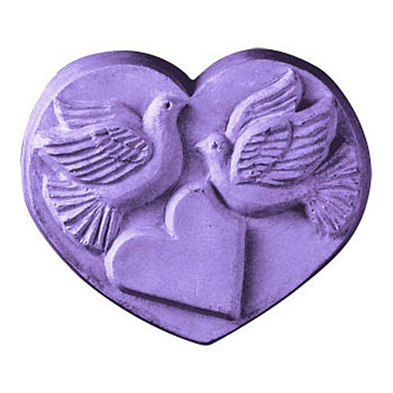 Heart & Doves Soap Bar Novelty Love Peace Shaped Soap 4 oz.  image 0