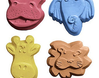 Safari Jungle Animal Soap Set 4 Kids Lion Hippo Giraffe Elephant U PICK SCENTS & COLOR Party Favor Gift Bath Fun Handmade