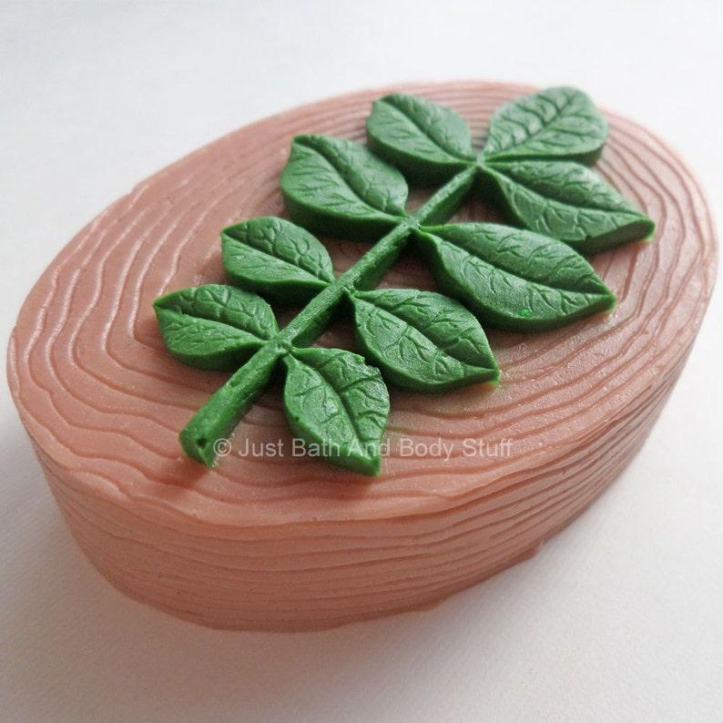 Leaf on Wood Soap Novelty Nature Shaped Bar 3.25 oz  Custom image 0