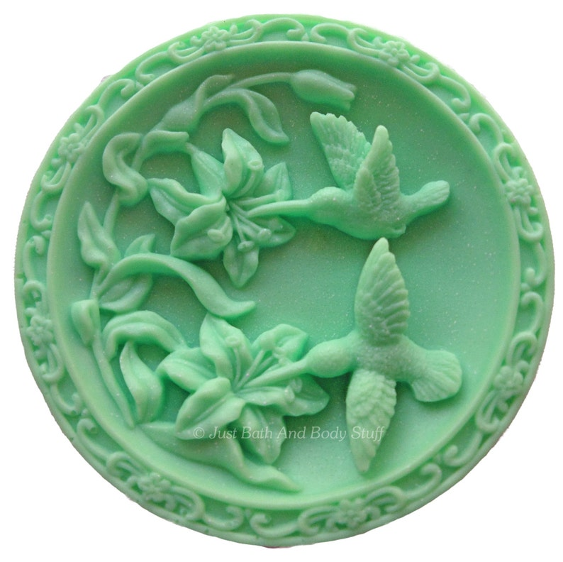 Hummingbird Soap Birds in Flowers Soap Novelty Soap Round image 0