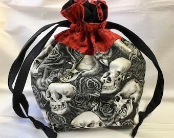 """Reusable Fabric Drawstring Gift Bag, Skulls & Black Roses, Medium 7"""" x 3"""" x 10""""h"""