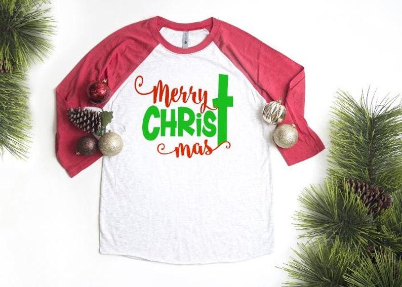 Sale Christmas Shirt Holiday Shirt Youth Raglan Christ 3/4 image 0
