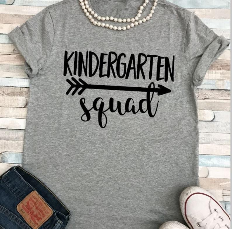 SALE Kindergarten Squad Teacher Shirt Plus Sizes image 0