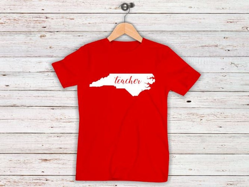North Carolina Red For Ed Teacher Shirts Plus Sizes image 0