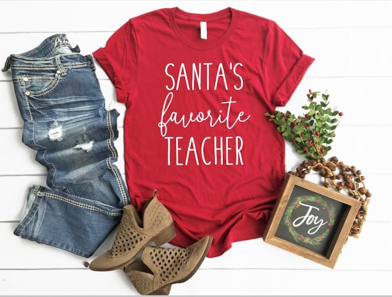Santa's Favorite Teacher Shirt Christmas Regular and Plus image 0