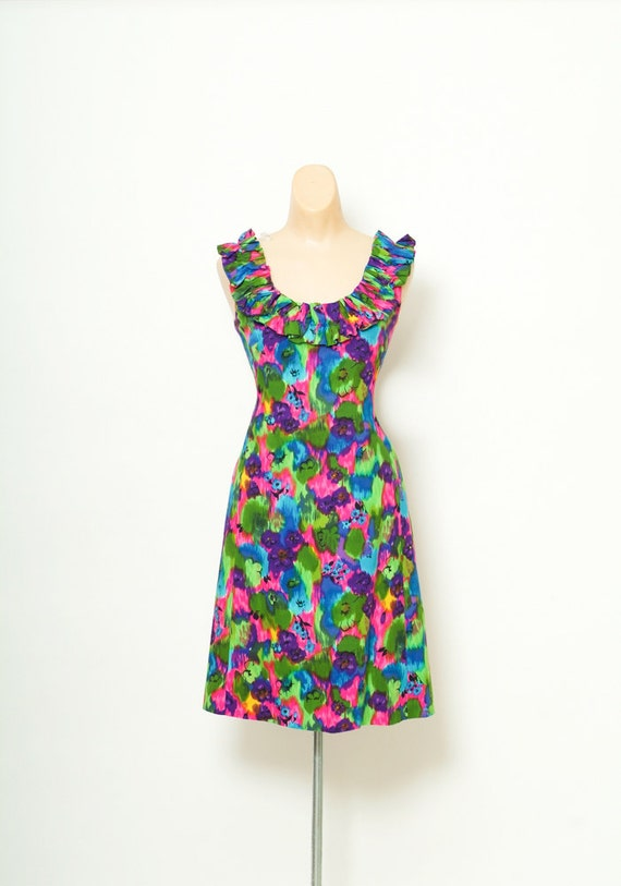 Hawaiian Dress / Vintage 50s Dress / 60s mod dress