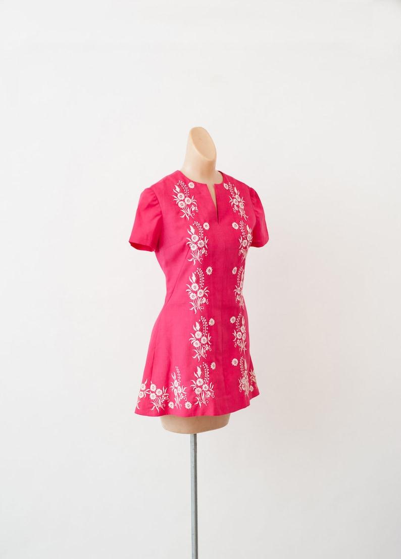 1960s Hot Pink Go Go Dress Vintage Mini Dress 60s Mod Dress Vintage 60s pink dress Retro Dress Dress for women Twiggy Dress