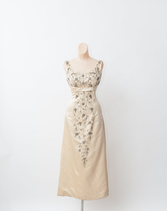 Vintage 50s gown, Beaded gown, Maxi evening dress,