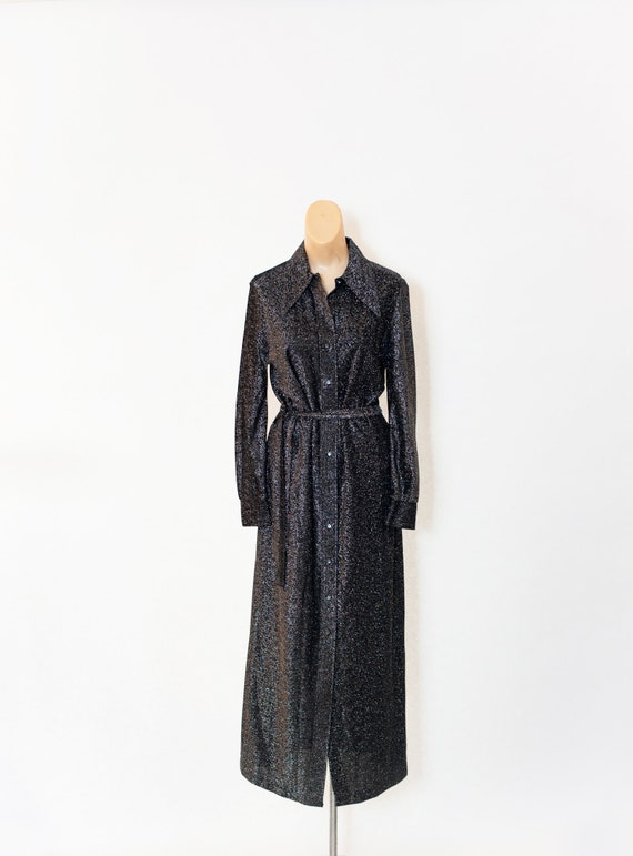 Vintage 70s dress Black Silver Metallic 70s  dress