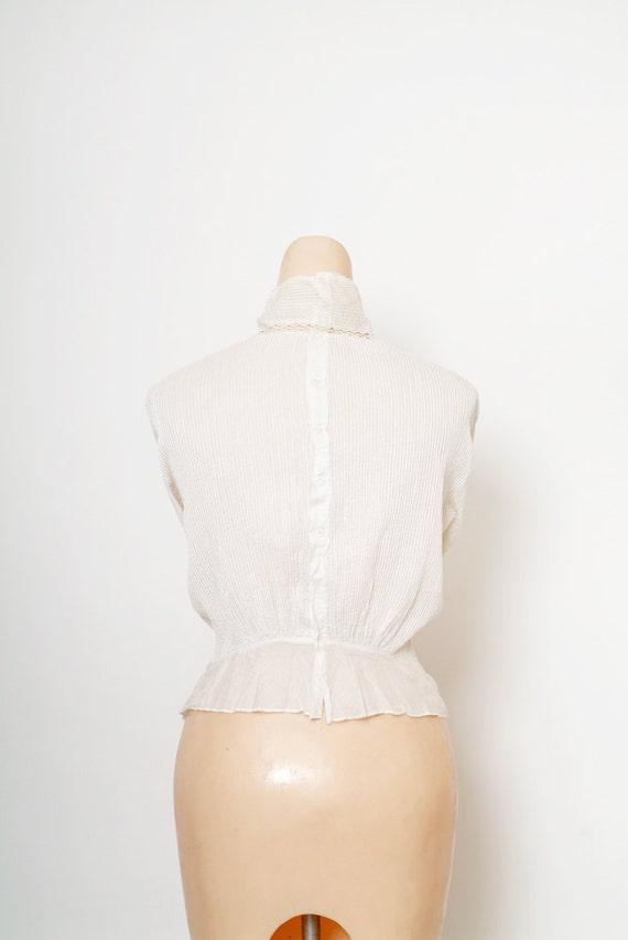 Antique Edwardian Blouse / Antique White Top / Vi… - image 5