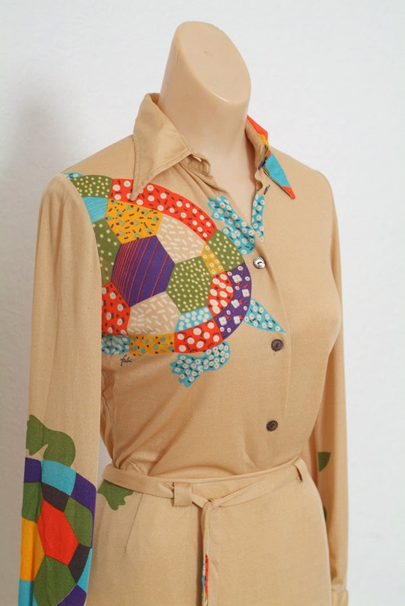 Vintage 70s dress / Novelty Print / Vintage two p… - image 3