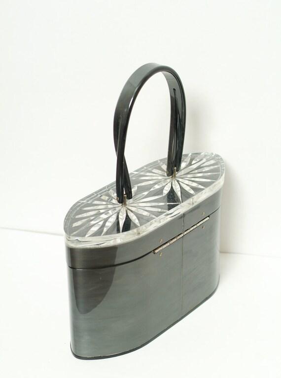Vintage 1950s Wilardy Purse /  Lucite  / Dark Gra… - image 3