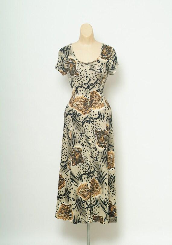 Size Medium Vintage 1990s Dress leopard print Dres