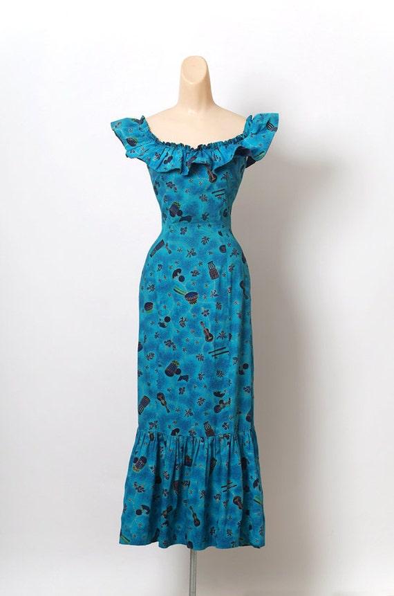 Vintage 50s 60s HAWAIIAN / Dress Hola Muu Fishtail