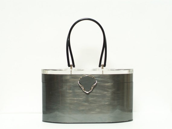 Vintage 1950s Wilardy Purse /  Lucite  / Dark Gray