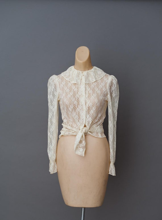 Vintage 1960s 60s Ivory Lace Ruffle Blouse - 60s F