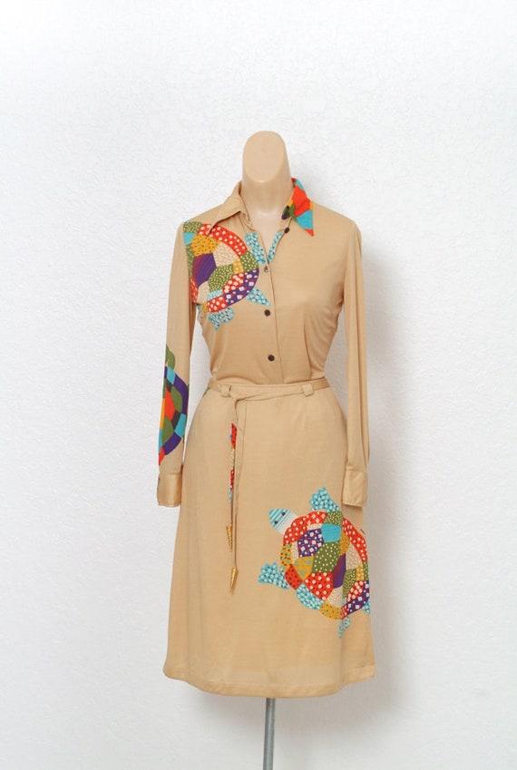 Vintage 70s dress / Novelty Print / Vintage two pi