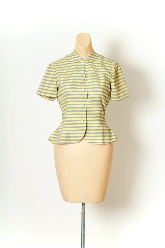 Vintage 40s Shirt Dress / Vintage Womens / Cotton