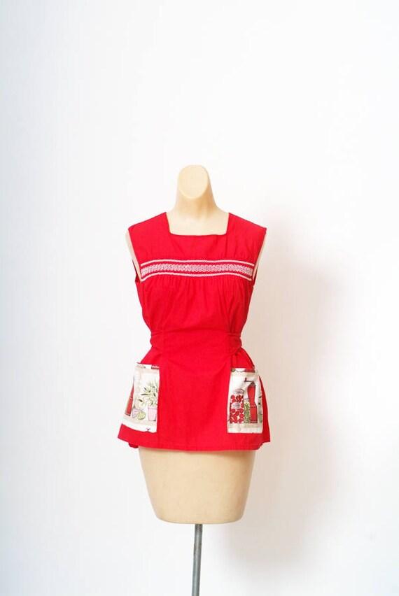 vintage 1950s apron / Smock Top Apron / 50s apron