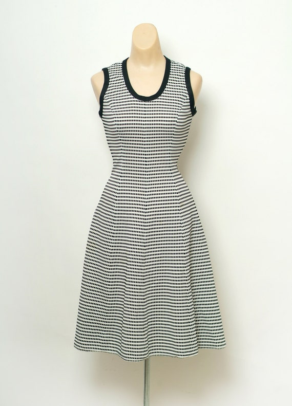 Vintage 60s Dress / 70s Dress / Dress Black,White