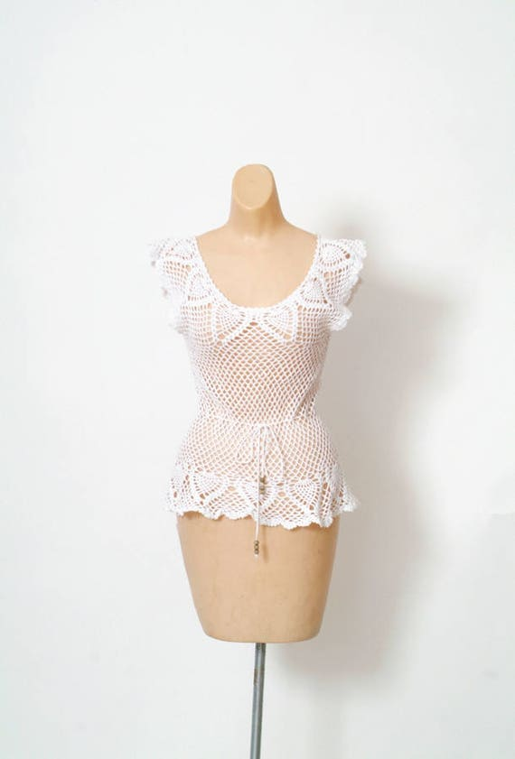 Vintage 80s Crochet top /  Vintage  blouse / gift