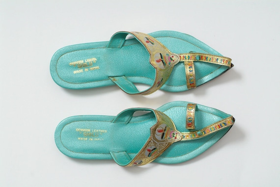 Vintage sandals Vintage Teal with Gold Accent Leather Sandals from India, size 6 bohemian, leather Sandals, Vintage indian shoes, 1960s