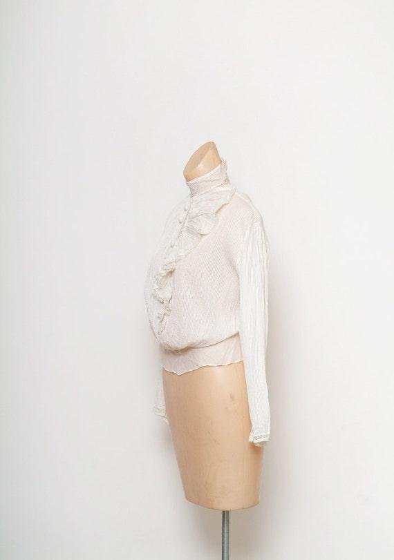 Antique Edwardian Blouse / Antique White Top / Vi… - image 3